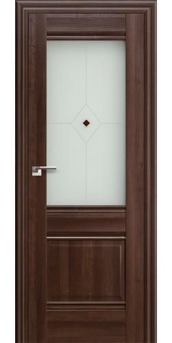 Межкомнатная дверь экошпон со стеклом 2 Х орех сиена