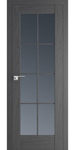 Межкомнатная дверь экошпон со стеклом 101Х пекан темный