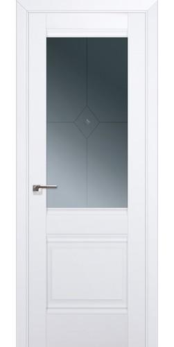 Межкомнатная дверь экошпон со стеклом 2U аляска