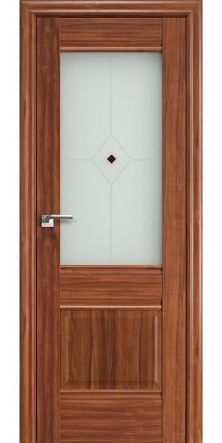 Межкомнатная дверь экошпон со стеклом 2 Х орех-амари