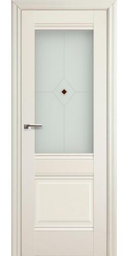 Межкомнатная дверь экошпон со стеклом 2 Х белый ясень