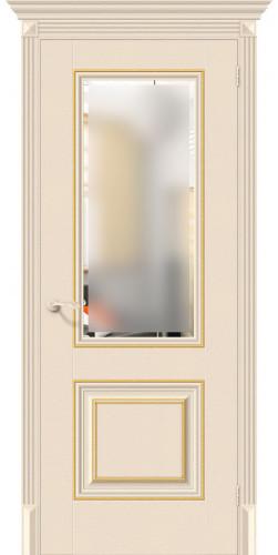 Межкомнатная дверь экошпон со стеклом Классико-33G-27 Ivory