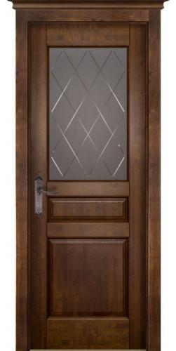 Межкомнатная дверь из массива со стеклом Валенсия Античный орех