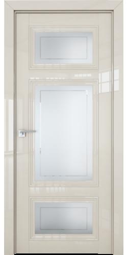 Дверь межкомнатная глянцевая 2.105L со стеклом цвет магнолия люкс