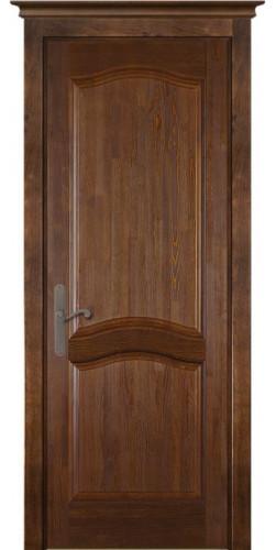 Дверь межкомнатная из массива сосны Лео Браш орех без стекла