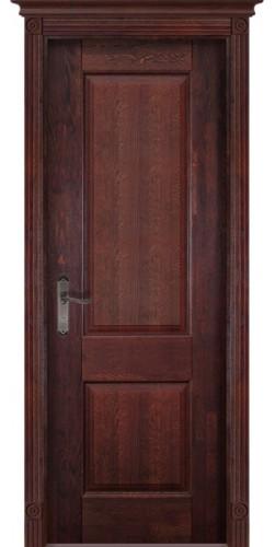 Дверь межкомнатная массив дуба Классика №1 махагон без стекла