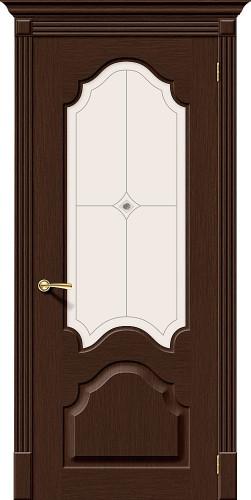 Дверь шпонированная со стеклом Афина цвет Ф-27 (Венге)