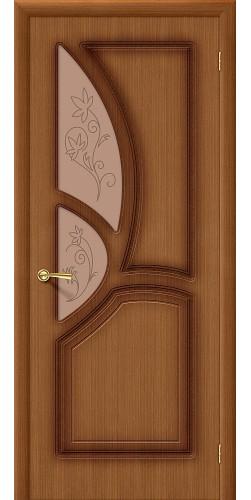 Межкомнатная дверь шпонированная со стеклом Греция Ф-11 (Орех)