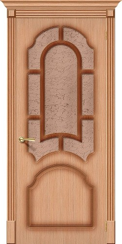 Дверь шпонированная со стеклом Соната цвет Ф-01 (Дуб)