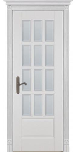 Дверь из массива ольхи межкомнатная Лондон 1 со стеклом белая эмаль
