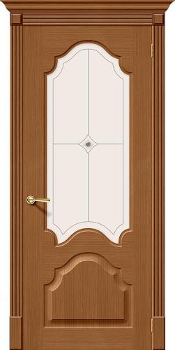Дверь шпонированная со стеклом Афина цвет Ф-11 (Орех)