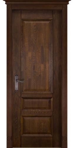 Дверь межкомнатная массив дуба Аристократ №1 античный орех со стеклом