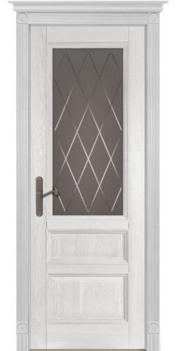 Дверь межкомнатная массив дуба Аристократ №2 белый со стеклом