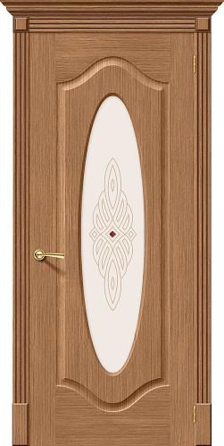 Дверь шпонированная со стеклом Аура Ф-02 (Дуб)