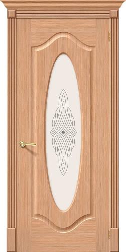 Межкомнатная дверь шпонированная со стеклом Аура Ф-01 (Дуб)