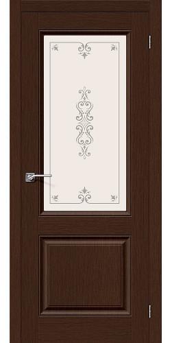 Межкомнатная дверь шпонированная со стеклом Статус-13 Ф-27 (Венге)