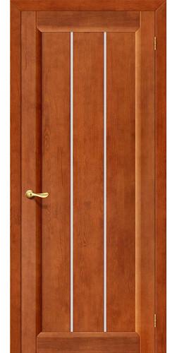 Дверь из массива Вега-19 со стеклом цвет темный орех тон 31