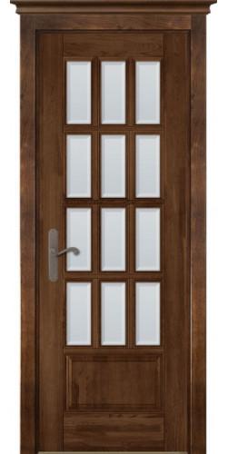 Дверь из массива ольхи межкомнатная Лондон 1 со стеклом античный орех