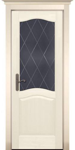 Дверь межкомнатная из массива сосны Лео Браш слоновая кость со стеклом