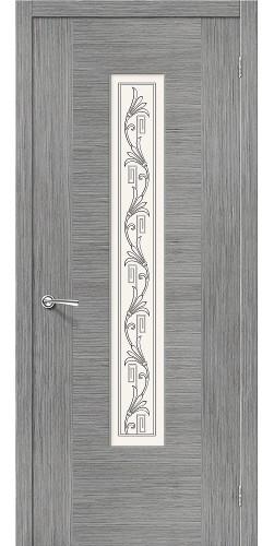 Дверь шпонированная со стеклом Рондо цвет серый дуб