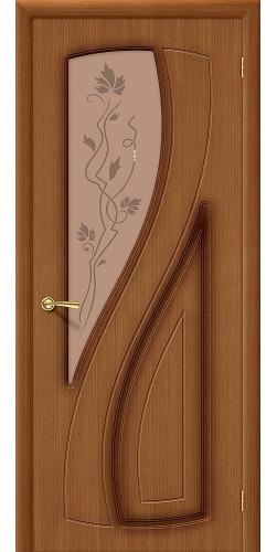 Дверь шпонированная со стеклом Лагуна цвет Ф-11 (Орех)