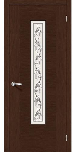 Дверь шпонированная со стеклом Рондо цвет Ф-27 (Венге)
