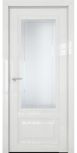 Дверь межкомнатная глянцевая 2.103L со стеклом цвет белый люкс