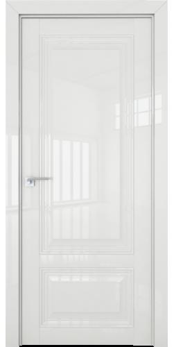 Дверь межкомнатная глянцевая 2.102L глухая цвет белый люкс