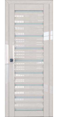 Дверь межкомнатная глянцевая 76L со стеклом цвет магнолия люкс