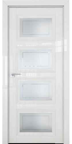 Дверь межкомнатная глянцевая 2.107L со стеклом цвет белый люкс
