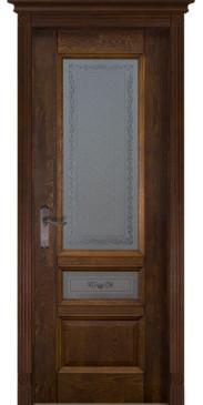 Дверь Аристократ №3 ПО каленое с узором античный орех
