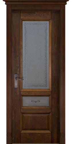 Межкомнатная дверь из массива со стеклом Аристократ №3 каленое с узором античный орех
