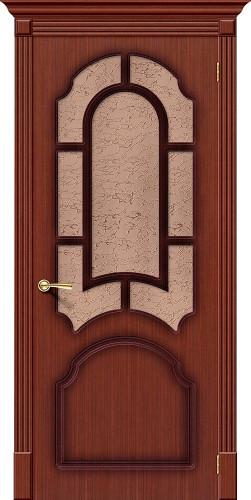 Дверь шпонированная со стеклом Соната цвет Ф-15 (Макоре)