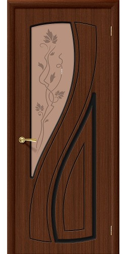 Дверь шпонированная со стеклом Лагуна цвет Ф-17 (Шоколад)