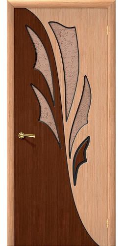 Дверь шпонированная со стеклом Дуэт цвет Ф-01 (Дуб)