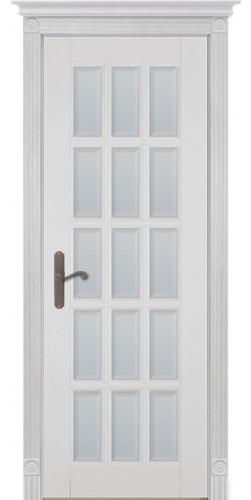 Межкомнатная дверь из массива со стеклом Лондон 2 белая эмаль