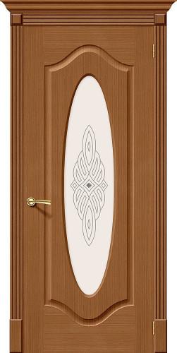 Дверь шпонированная со стеклом Аура Ф-11 (Орех)