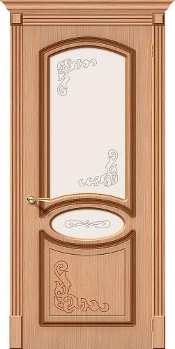 Дверь шпонированная со стеклом Азалия цвет Ф-01 (Дуб)
