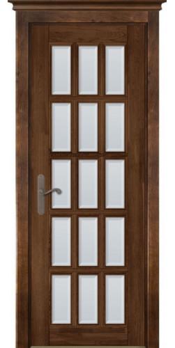 Дверь из массива ольхи межкомнатная Лондон 2 со стеклом античный орех