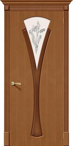 Межкомнатная дверь шпонированная со стеклом Флора Ф-11 (Орех)