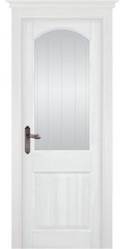Межкомнатная дверь из массива со стеклом Осло белая эмаль