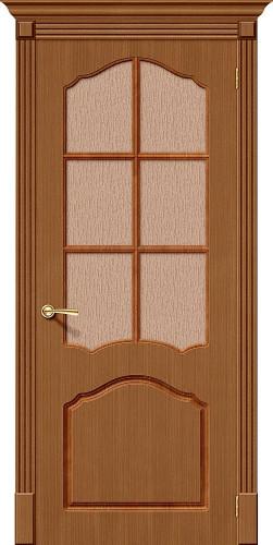 Дверь шпонированная со стеклом Каролина цвет Ф-11 (Орех)