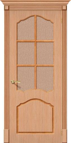 Дверь шпонированная со стеклом Каролина цвет Ф-01 (Дуб)