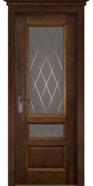Дверь Аристократ №3 ПО графит с фрезеровкой античный орех