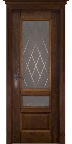 Дверь межкомнатная массив дуба Аристократ №3 античный орех стекло графит с фрезеровкой