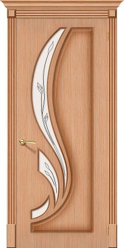 Дверь шпонированная со стеклом Лилия цвет дуб