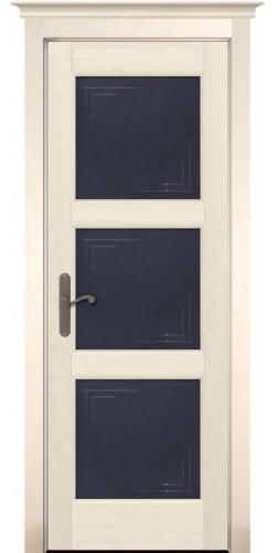 Межкомнатная дверь из массива со стеклом Турин Браш слоновая кость