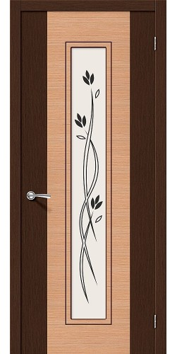Дверь шпонированная со стеклом Этюд Ф-27 (Венге)/Ф-01 (Дуб)