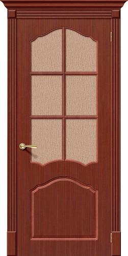 Дверь шпонированная со стеклом Каролина цвет Ф-15 (Макоре)