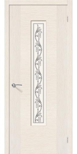 Дверь шпонированная со стеклом Рондо цвет беленый дуб